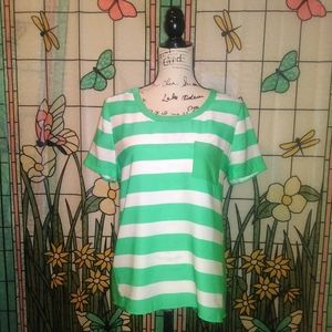 J Crew Factory Green Striped Colorblock Blouse